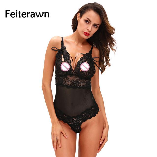 Feiterawn negro festoneado lace accent peek-a-boo teddy lencería 2017 nueva sexy underwear de la ropa interior ropa de dormir para las mujeres dl32028
