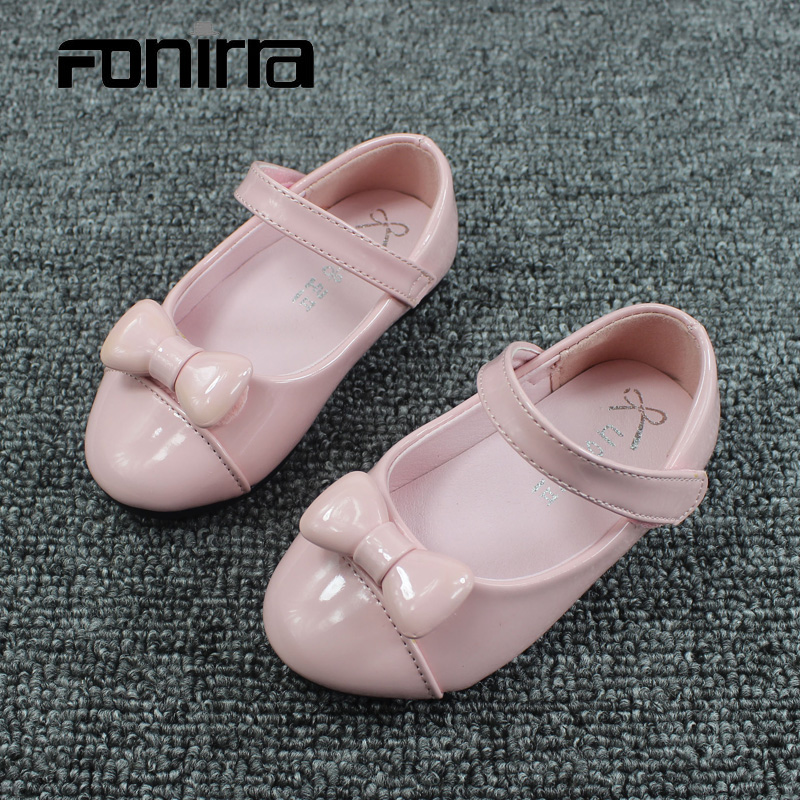 2017 Autumn Fashion Girls Leather Shoes with Cute Bow Princess Ballet Flat Shoes for Little Girls Pretty Pink Casual Shoes 095