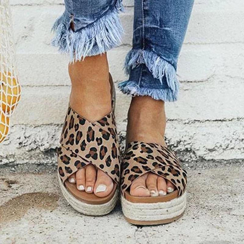 Sexy Leopard Summer Sandals Women Slippers Peep Toe Platform Casual Shoes Woman Beach Flip Flops Female Slides Sandalia Feminina