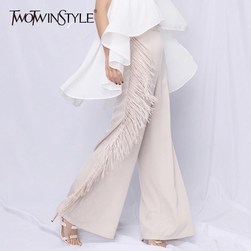 TWOTWINSTYLE Tassel Pants For Women Patchwork High Waist Big Size Summer Maxi Wide Leg Pants 2019
