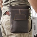 Genuine Leather Male Fanny Pack Belt Waist Bag Cell/Mobile Phone Case Men Crazy Horse Cowhide Small Messenger Shoulder Bags