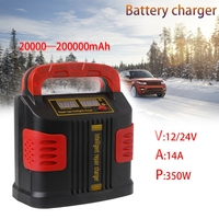 OOTDTY 350W 14A AUTO Plus Passen LCD Battery Charger 12 V-24 V Auto Jump Starter Draagbare