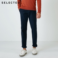 SELECTED Men's Cotton Solid Color Micro-elastic Business Casual Pants Male Trousers S|418414502 Casual Pants