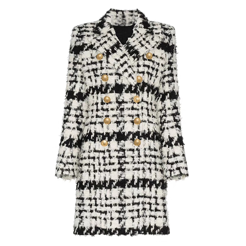 Abrigo largo con botones de León de doble botonadura de lana de diseñador 2019 de pasarela nueva y elegante de alta calidad-in Lana y mezclas from Ropa de mujer    1