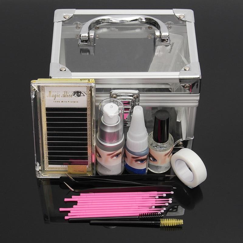 New Professional Eyelashes Extension Kit False Eyelash Makeup Set Eye Cosmetic Tools Glue Pad With Transparent Box