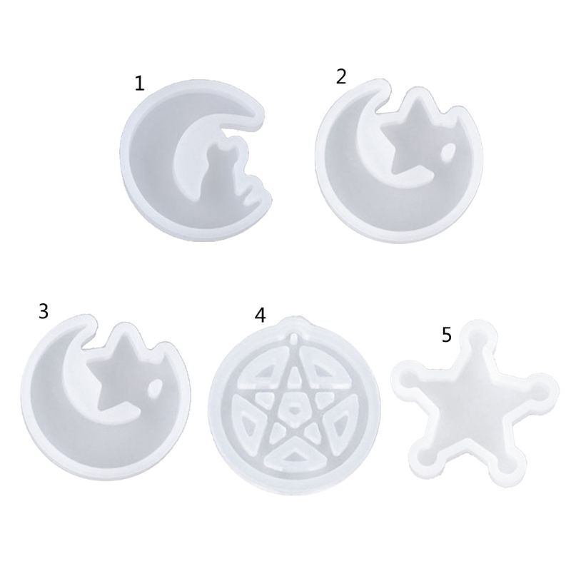 Cat Moon Star Silicone Molds Resin Earring Necklace Pendant Jewelry Making Tools