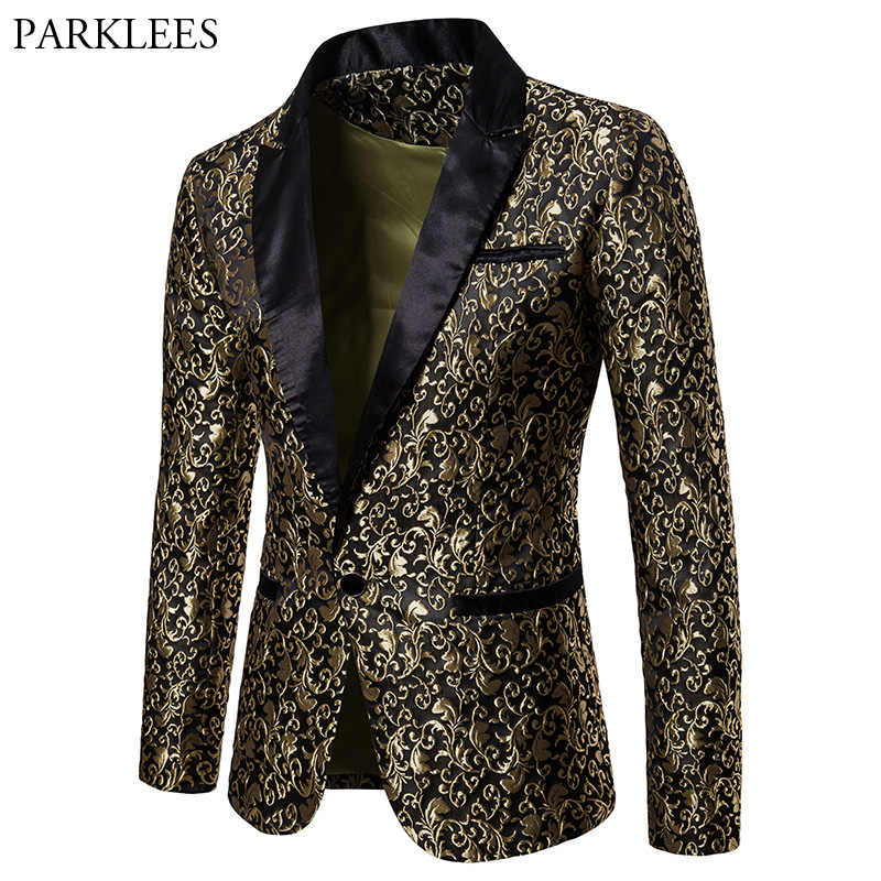 Gold Jacquard Bronzing Floral Blazer Men 2018 Brand New Mens Patchwork One Button Blazer Jacket Party Stage Singer Costume Homme