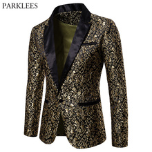 Мужской пиджак с золотым жаккардовым бронзирующим цветочным принтом, новинка 2018 года, лоскутный пиджак на одной пуговивечерние для вечеринок, сценический костюм певицы Homme