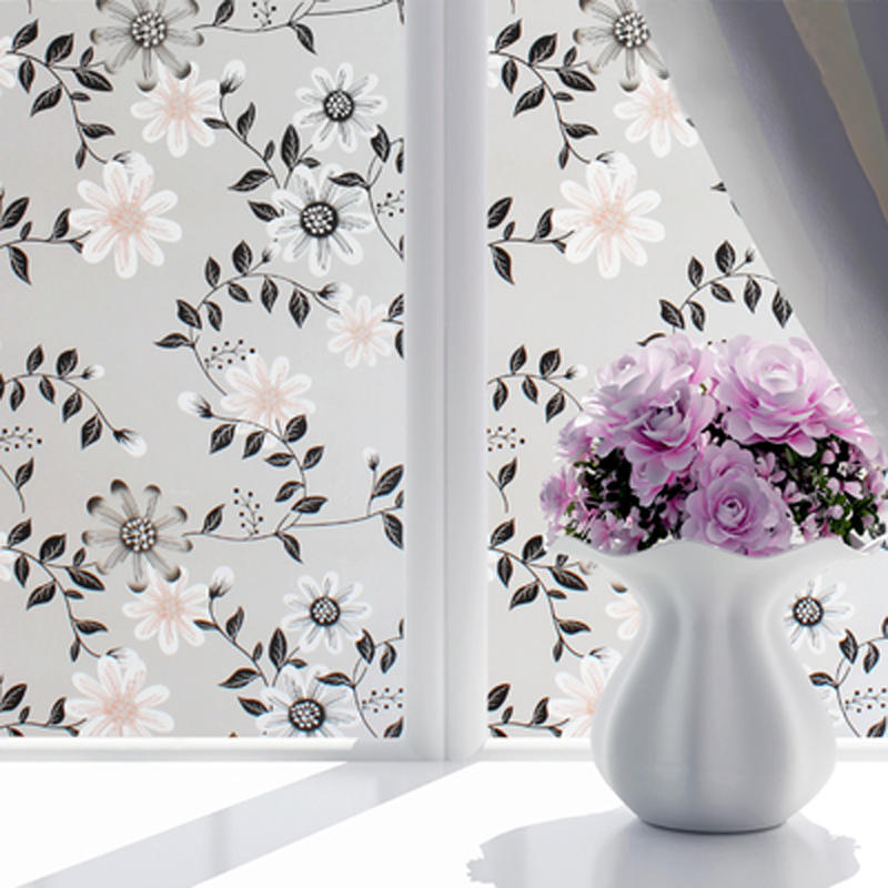New 45*100cm 14Color Self Adhesive Glass Sticker Flower Window Films Shower Door Window Privacy PVC Frosted Film Sticker Decor