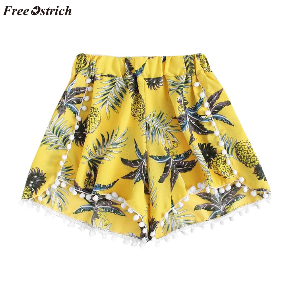 FREE OSTRICH Women's fashion trend comfortable irregular pineapple print waist loose   shorts   elastic waist fresh and pure   shorts