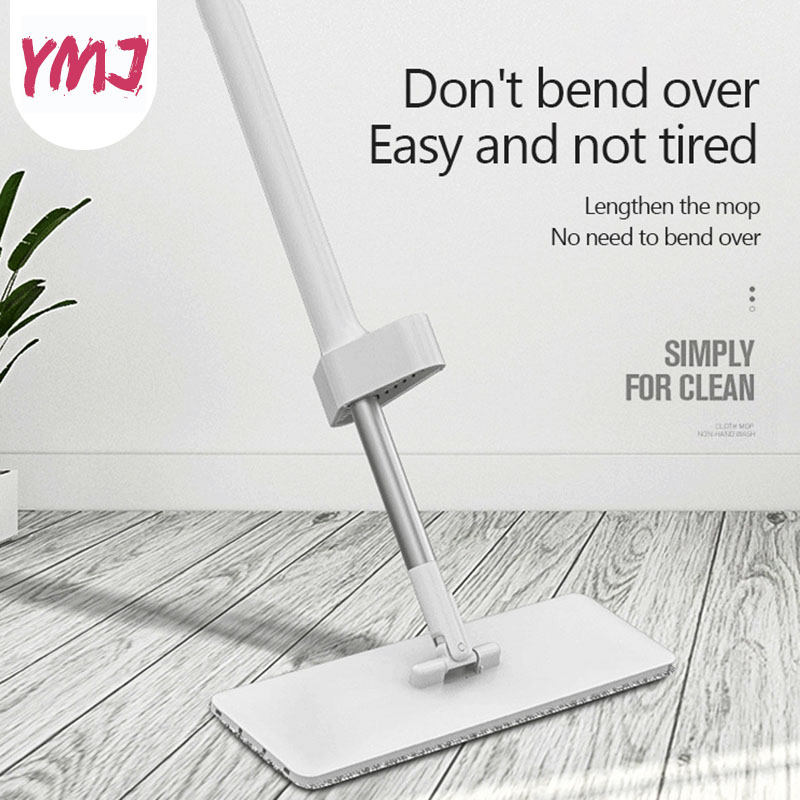 Hand Wash Free Mop Refill Rectangle Flat Mops Rotatable Aluminum Handle Floor Cleaning Artifact Household Floor Cleaner