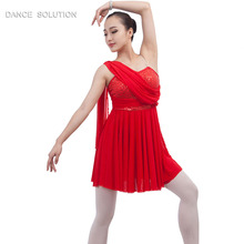bae1ffcd95 Red Sequin Stretch Spandex Bodice with Stretch Mesh Skirt Lyrical Dance  Costume Ballet Dress 16035A(