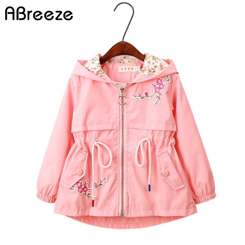 2018 Spring Autumn children   Trench   fashion 3-11Y hooded girls outerwear & coats color Pink blue floral style   trench   for girls