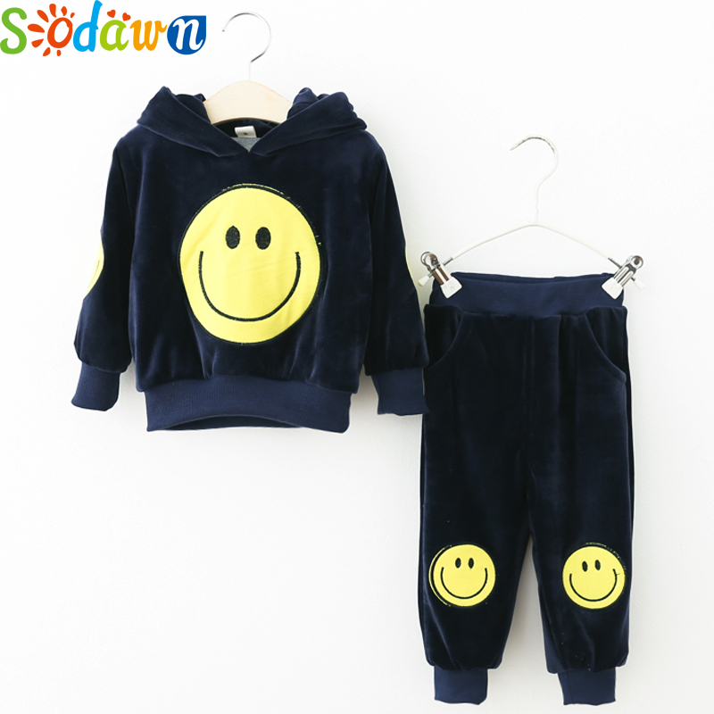 Sodawn Autumn New Boys Girls Clothing Set Cartoon Smiley Long-Sleeved Sweater+Trousers Suit Warm Fashion Children Clothing