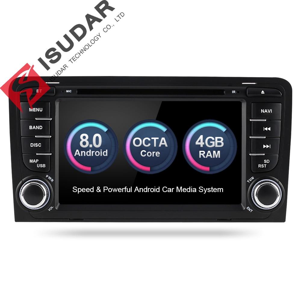 Isudar Car Multimedia player Android 8.0 GPS 2 Din Autoradio Sistema Stereo Per Audi/A3/S3 Octa Core 4 gb di RAM wifi Auto Lettore DVD
