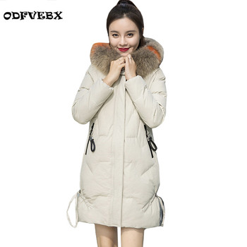 High-end Hooded Fur Collar Feather Cotton Coat long-sleeved Winter Loose Fashion Pocket Cotton Bread Jacket Coat Tide ODFVBX