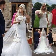 Сексуальное свадебное платье с рукавами крылышками милым вырезом
