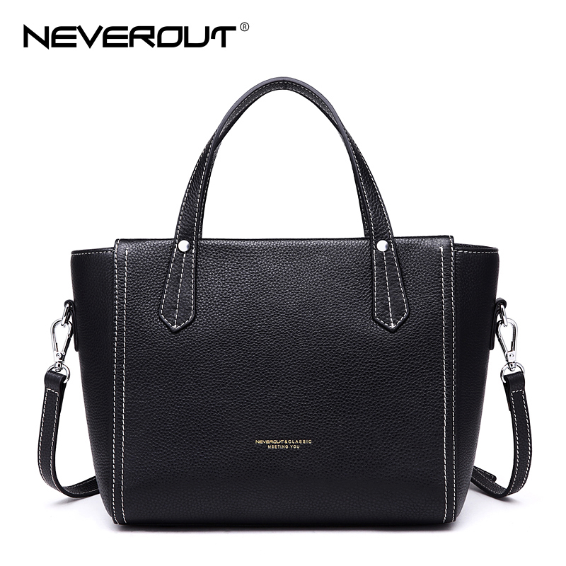NeverOut High Quality Genuine Leather Handbag Brand Name Bag Women Bags Handbags Ladies Solid Casual Tote Female Shoulder Sac 2017 women handbags ladies leather commuter office tote bag high quality women bag