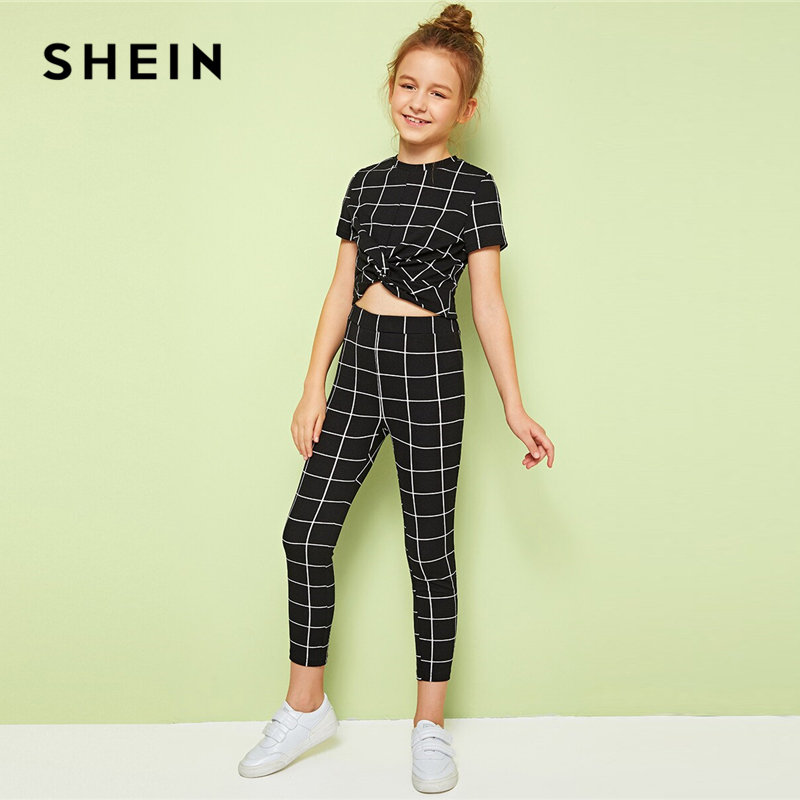 SHEIN Kiddie Black Plaid Stand Collar Twist Front Top And Leggings Casual Set Kids 2019 Summer Short Sleeve Kids Skinny Outfits