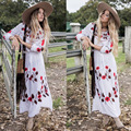 Autumn Women Dresses Long Sleeve Flroal Embroidery Dress Fashion Loose Bohemian Long Dress Side Slits Sexy Maxi Dress