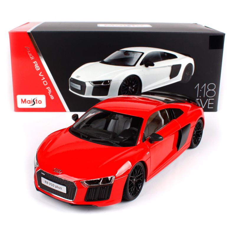 Maisto 1:18 audi r8 v10 plus white red car diecast hardback luxury racing car toy models for collection car models for men 38135 батарейки duracell basic lr6 4bl aa 4 шт