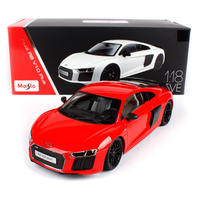 Maisto 1:18 audi r8 v10 plus white red car diecast hardback luxury racing car toy models for collection car models for men 38135