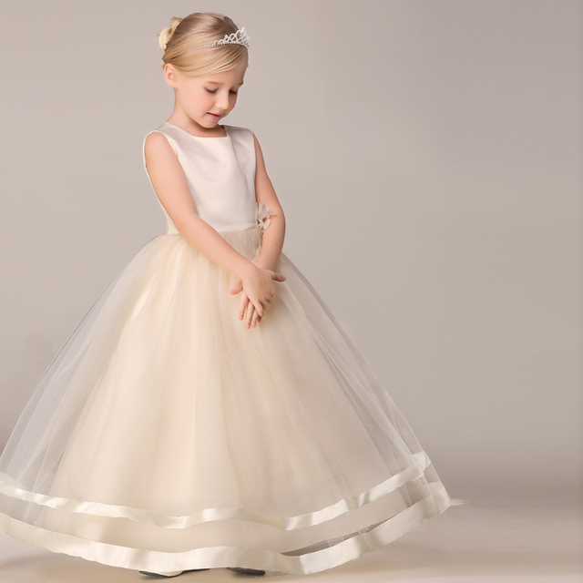 Girls Maxi Long Dress Evening Princess Wedding Party Dresses Ruffle Embroidery White Clothes For Age
