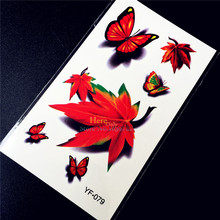 Maple Leaf Designs Waterproof Temporary Tattoo Summer Style Sexy Products Women Makeup Tattoo Stickers Butterfly Pattern HYF-079