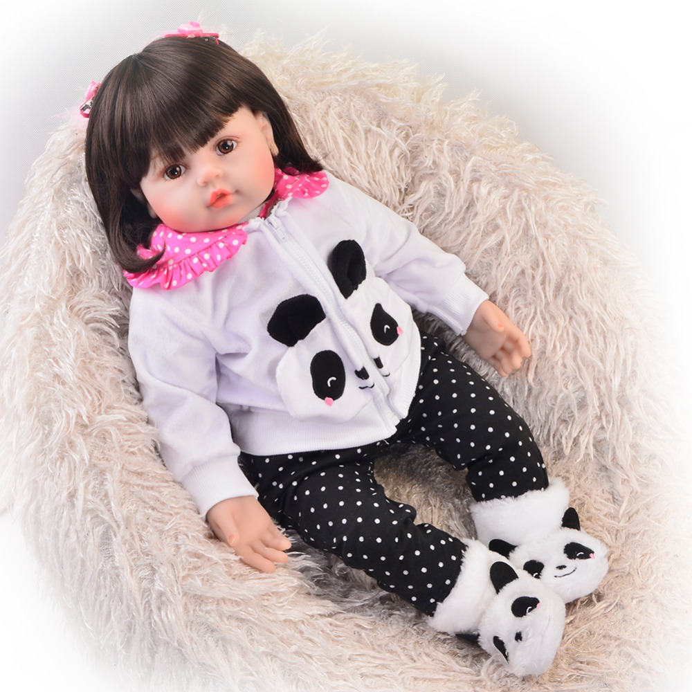 Lovely 24 In 60 cm Boneca Reborn Toy Soft Silicone Newborn Doll For Girl Realistic Princess Cloth Body Kids Christmas Gifts keiumi 23 babies girl reborn baby doll full body silicone vinyl realistic 57 cm princess new born boneca reborn boneca gifts