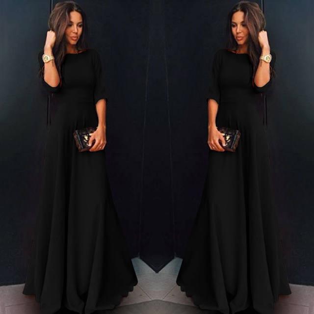 2018 Summer Sexy Elegant Women Half Sleeve Slim Empire O-neck Vestido Evening Formal Party Prom Long Maxi Dress Plus Size S-2XL 21