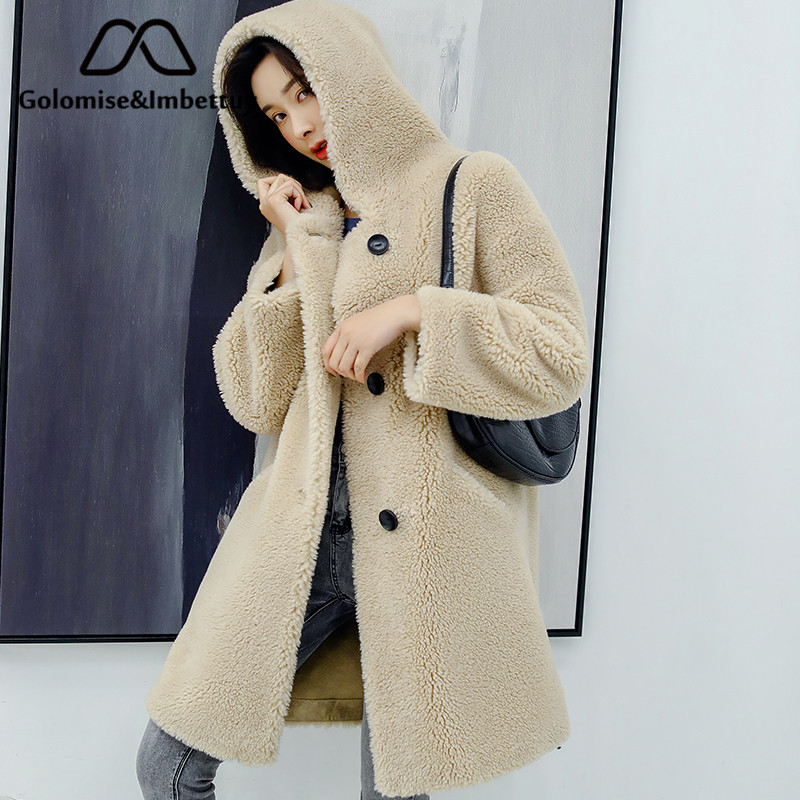 Golomise&Imbettuy Real Composite Lamb Fur Coat Women Genuine Shearling Wool Fur Coat/Jacket With Faux Suede Leather Liner