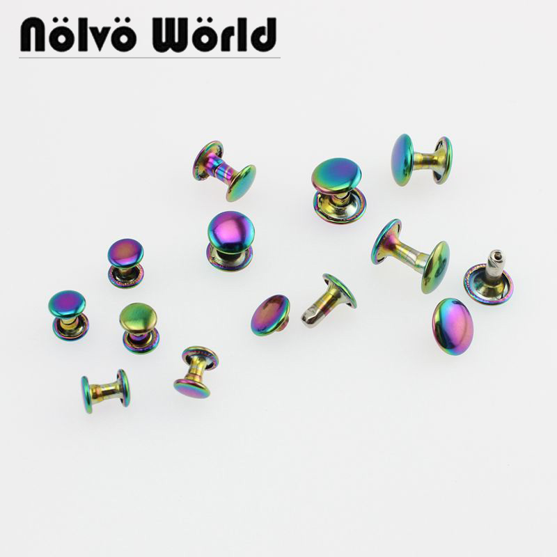50-100pcs 6mm 8mm 10mm Rainbow Double Cap Rivets Fasteners High Quality Leather Crafts Bags Shoes Studs
