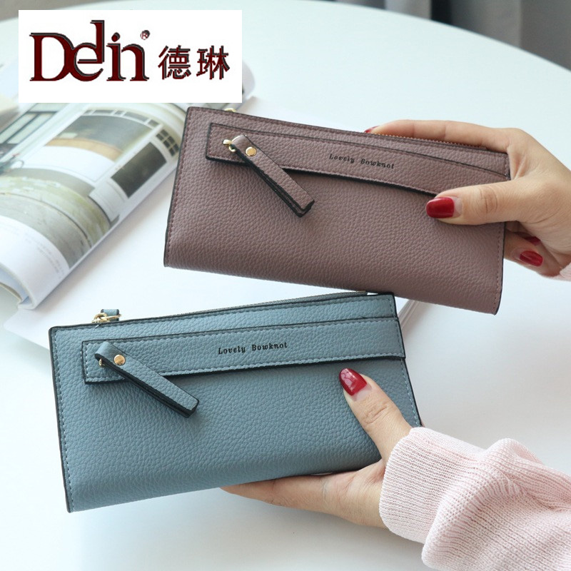 DELIN  2017 New Lychee Long Pattern Of Big Money Clip Fashion Small Fresh Wallet
