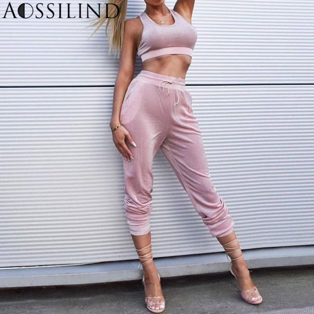 2752f7cc58 AOSSILIND Fashion Sparkly Casual Two Piece Set Summer Autumn Sleeveless  Backless Crop Top And Pant Women Tracksuits 2018