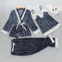 Gray Womens 3PC Strap Top Pants Suit Autumn Winter Velour Pajamas Sleepwear Sets Home Wear Nightwear Sexy Robe Bath Gown