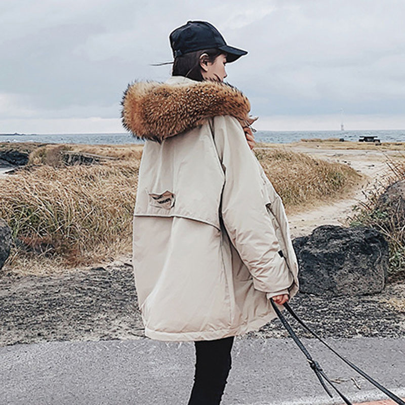 Winter   Down   Jacket Large Real Raccoon Fur 2019 White Duck   Down   Jackets And   Coats   Female Parkas For Warm   Coat   Outwear