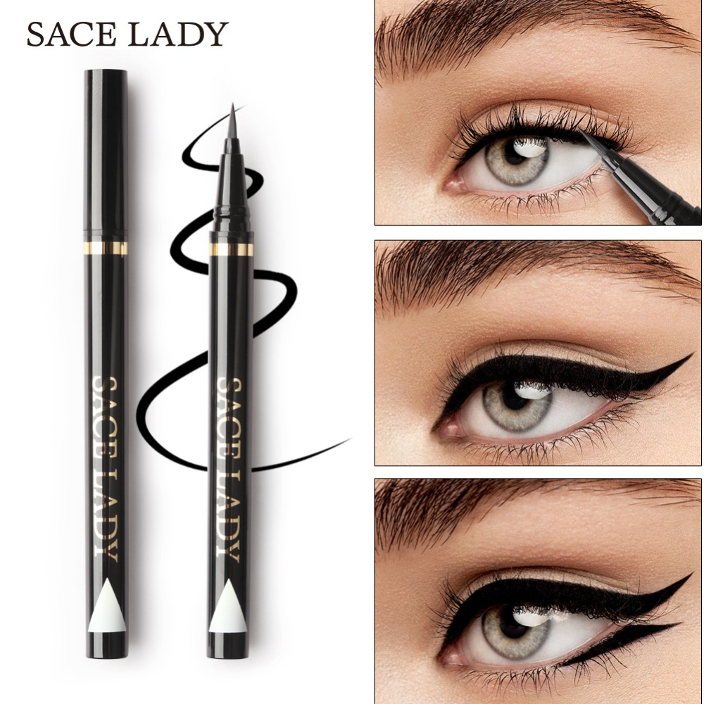 SACE LADY Liquid Eyeliner Waterproof Makeup Black Eye Liner Pencil Long Lasting Make Up Smudge-proof Pen Natural Brand Cosmetic