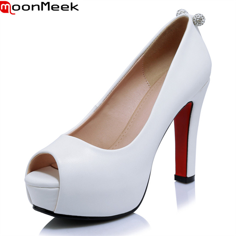 MoonMeek 2018 new summer spring platform pumps women shoes extreme high heels peep toe slip on shallow square heels ladies shoes women shoes pumps 2016 spring and summer new patent leather bow peep toe women sandals platform high heels shoes zapatos mujer