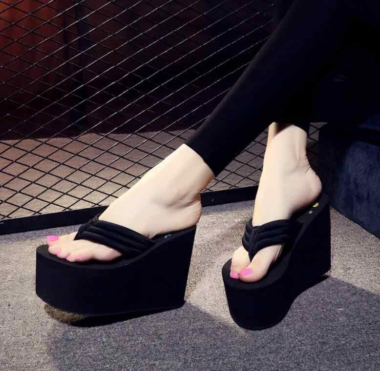 Nuevo 11 Cm Flip Flop Cuñas Sandalias De Verano Chanclas Zapatos De Mujer Las Mujeres Calzado De Playa Luz Plataforma Inferior Hecho A Mano 34 41 Chancletas Aliexpress