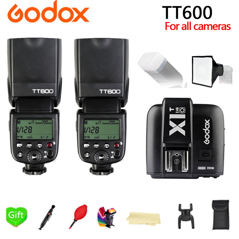 2x Godox TT600 TT600S 2.4G TTL HSS Speedlite Flash + X1T-C X1T-N X1T-S X1T-O X1T-F Trigger for Canon Nikon Sony Fujifilm Olympus godox ving v860ii v860ii c n s e ttl hss 1 8000 speedlite flash x1t c x1t n x1t s transmission for canon nikon sony dslr camera
