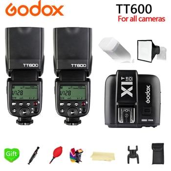 2x Godox TT600 TT600S 2.4G TTL HSS Speedlite Flash + X1T-C X1T-N X1T-S X1T-O X1T-F Trigger for Canon Nikon Sony Fujifilm Olympus