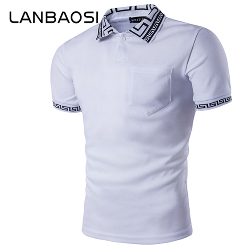 Lanbaosi slim fit polo shirt mens short sleeve casual for Plus size golf polo shirts