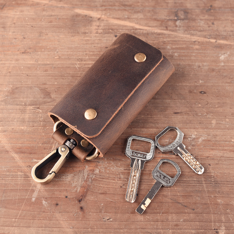 High Quality Genuine Leather Key Wallet Men Holder Luxury Brand Crazy Horse Mini Purse P ...