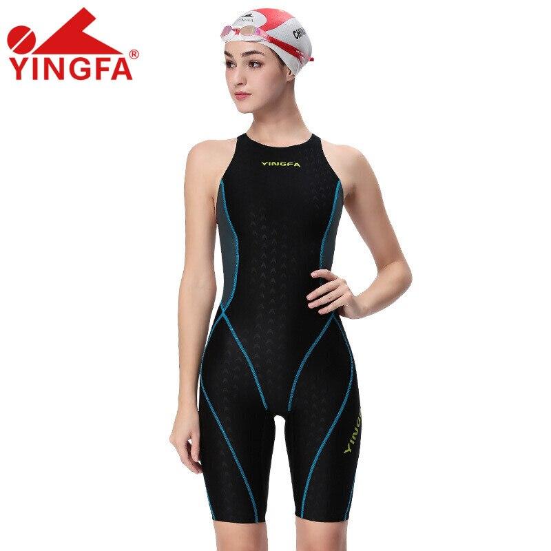 3da50919b9cb € 24.26 55% de DESCUENTO Aliexpress.com: Comprar Yingfa una pieza  competencia rodilla longitud impermeable cloro baja resistencia mujeres  traje de ...
