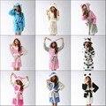 Unisex ponto/anjo/Vaca/Coelho/bisonho/sulley monstro/Panda/cat/ovelha Pijama Coral Sleepwear roupões de banho vestir vestidos de noite