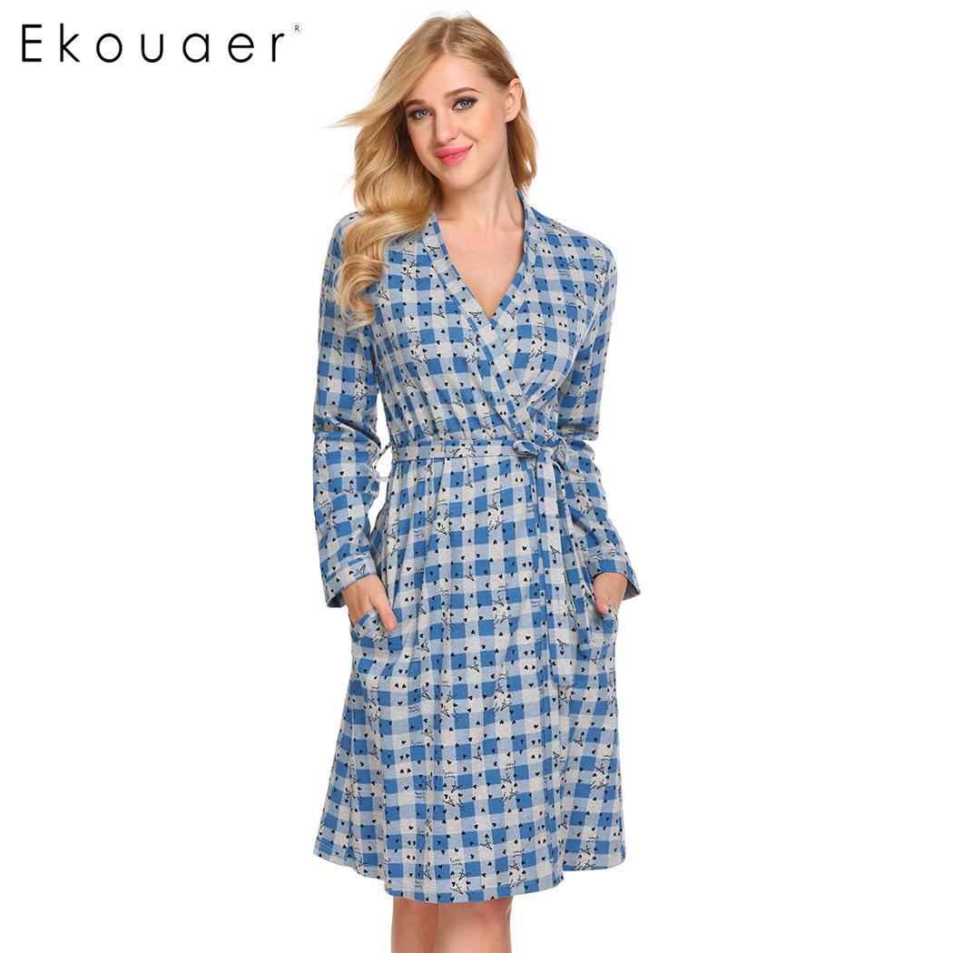 Ekouaer 100 Cotton Robe Women Dressing Gown Nightwear Plaid Long Sleeve Casual Pocket Bathrobe Sleepwear Spring
