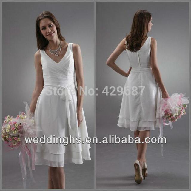 New Design Sash V Neck White Knee Length Bridesmaid Dresses Maid Of ...