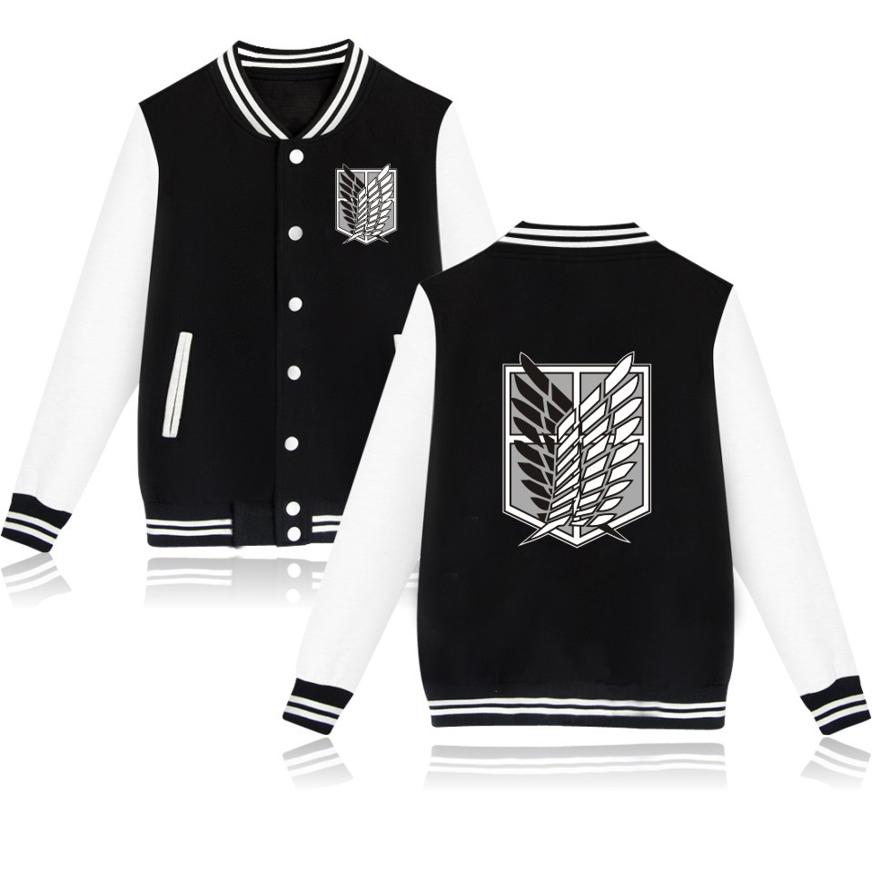 Free Ship Attack On Titan Anime Baseball Jacket Streetwear Coat Casual Trackusuit Mens Coats And Jackets Plus Size Boys Clothes