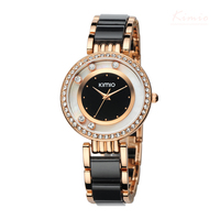 Kimio Brand Imitation Ceramic Women Bracelet Watch Ladies Luxury Crystal Quartz Dress Watches Sexy Black Clock