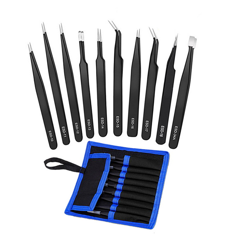 Urijk 6Pcs/9Pcs ESD Tweezers Tools Kit Precision Antistatic Tip Curved Straight Stainless Steel Tweezers Nipper Repair Tool 7pcs bga precision tweezer set antistatic tweezers stainless tweezers